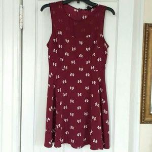 Forever 21 Burgandy Bow Print Dress